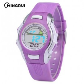 image of MINGRUI MR - 8530021 KIDS DIGITAL MOVT WATCH LED LIGHT DATE DAY CHRONOGRAPH 3ATM WRISTWATCH (PURPLE) 0