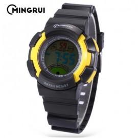 image of MINGRUI MR - 8540061 KIDS DIGITAL MOVT WATCH LED LIGHT DATE DAY CHRONOGRAPH 3ATM WRISTWATCH (YELLOW) 0
