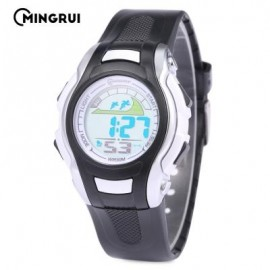 image of MINGRUI MR - 8530021 KIDS DIGITAL MOVT WATCH LED LIGHT DATE DAY CHRONOGRAPH 3ATM WRISTWATCH (BLACK) 0