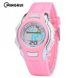 image of MINGRUI MR - 8530021 KIDS DIGITAL MOVT WATCH LED LIGHT DATE DAY CHRONOGRAPH 3ATM WRISTWATCH (PINK) 0