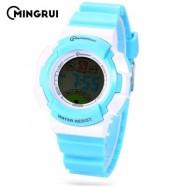 image of MINGRUI MR - 8540061 KIDS DIGITAL MOVT WATCH LED LIGHT DATE DAY CHRONOGRAPH 3ATM WRISTWATCH (LAKE BLUE) 0
