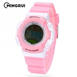 image of MINGRUI MR - 8540061 KIDS DIGITAL MOVT WATCH LED LIGHT DATE DAY CHRONOGRAPH 3ATM WRISTWATCH (PINK) 0