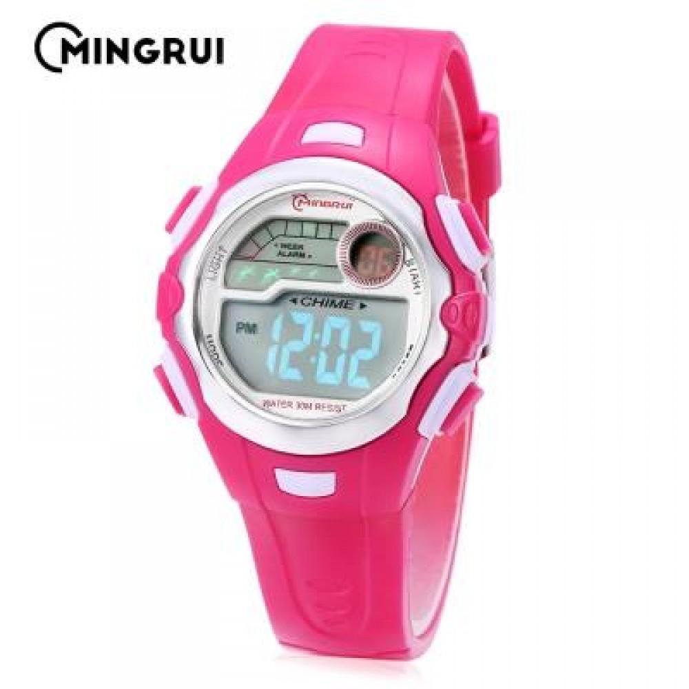 MINGRUI MR - 8550033 KIDS DIGITAL MOVT WATCH LED LIGHT DATE DAY ALARM CHRONOGRAPH 3ATM WRISTWATCH (ROSE RED) 0