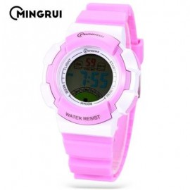 image of MINGRUI MR - 8540061 KIDS DIGITAL MOVT WATCH LED LIGHT DATE DAY CHRONOGRAPH 3ATM WRISTWATCH (PURPLE) 0
