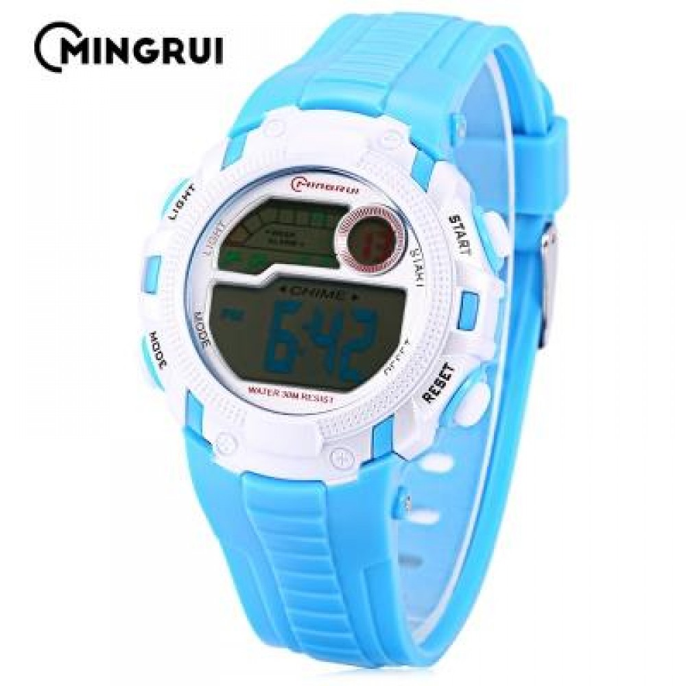 MINGRUI MR - 8562033 CHILDREN DIGITAL LED WATCH CHRONOGRAPH CALENDAR KIDS WRISTWATCH (LAKE BLUE) 0