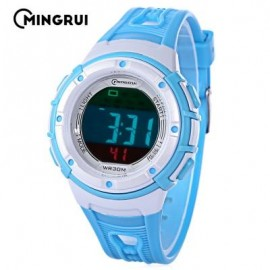 image of MINGRUI MR - 8556096 KIDS DIGITAL MOVT WATCH LED LIGHT DATE DAY ALARM CHRONOGRAPH 3ATM WRISTWATCH (LAKE BLUE) 0