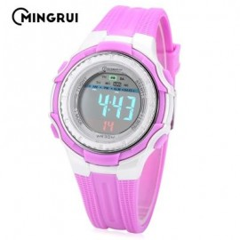 image of MINGRUI MR - 8555096 KIDS DIGITAL MOVT WATCH LED LIGHT DATE DAY ALARM CHRONOGRAPH 3ATM WRISTWATCH (PURPLE) 0