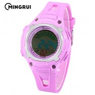 image of MINGRUI MR - 8529019 CHILDREN DIGITAL WATCH 3ATM LED CALENDAR CHRONOGRAPH KIDS WRISTWATCH (PURPLE) 0