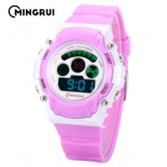 image of MINGRUI MR - 8552095 KIDS DIGITAL MOVT WATCH LED LIGHT DATE DAY ALARM CHRONOGRAPH 3ATM WRISTWATCH (PURPLE) 0