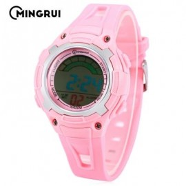 image of MINGRUI MR - 8529019 CHILDREN DIGITAL WATCH 3ATM LED CALENDAR CHRONOGRAPH KIDS WRISTWATCH (PINK) 0