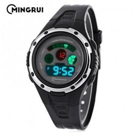 image of MINGRUI MR - 8558095 KIDS DIGITAL MOVT WATCH LED LIGHT DATE DAY CHRONOGRAPH 3ATM WRISTWATCH (BLACK) 0