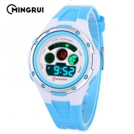 image of MINGRUI MR - 8558095 KIDS DIGITAL MOVT WATCH LED LIGHT DATE DAY CHRONOGRAPH 3ATM WRISTWATCH (LAKE BLUE) 0