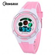 image of MINGRUI MR - 8558095 KIDS DIGITAL MOVT WATCH LED LIGHT DATE DAY CHRONOGRAPH 3ATM WRISTWATCH (PINK) 0