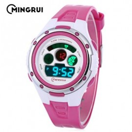 image of MINGRUI MR - 8558095 KIDS DIGITAL MOVT WATCH LED LIGHT DATE DAY CHRONOGRAPH 3ATM WRISTWATCH (ROSE RED) 0