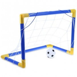 image of MINI FOOTBALL SOCCER GOAL POST NET SET WITH PUMP INDOOR OUTDOOR KIDS SPORT TOY (BLUE AND YELLOW) -