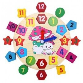 image of EDUCATIONAL TOY WITH CARTOON PATTERN DIGITAL BLOCKS CLOCK FOR BABY (COLORMIX) One Size