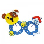 CHILDREN CARTOON STEREOSCOPIC GLASSES HANDMADE STICKUP EDUCATIONAL TOY (BLUE, DOG) Dog