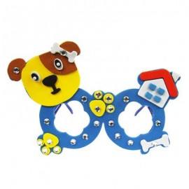 image of CHILDREN CARTOON STEREOSCOPIC GLASSES HANDMADE STICKUP EDUCATIONAL TOY (BLUE, DOG) Dog