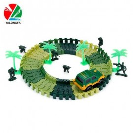 image of YALONGFA NO.358 48PCS DIY RACING TRACK ASSEMBLY (ARMY GREEN) 0