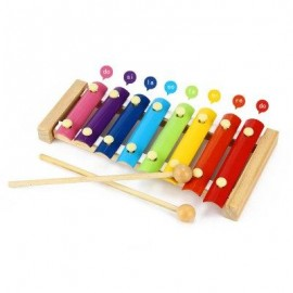 image of KID WOODEN 8 NOTES MUSICAL TOYS HAND KNOCK XYLOPHONE EDUCATIONAL TOYS (COLORFUL) -