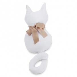 image of STUFFED CAT SHAPE PLUSH DOLL TOY BIRTHDAY CHRISTMAS GIFT (WHITE) 45CM WITH TAIL