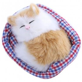 image of LOVELY SIMULATION SOUNDING SLEEPING CAT PLUSH TOY WITH NEST BIRTHDAY CHRISTMAS GIFT (WHITE AND YELLOW) 13.50 x 10.50 x 6.00 cm