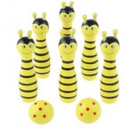 image of WOODEN MINI CARTOON BOWLING BALL SKITTLE GAME TOY ANIMAL SHAPE (YELLOW) -