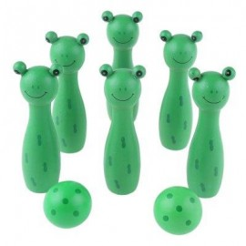 image of WOODEN MINI CARTOON BOWLING BALL SKITTLE GAME TOY ANIMAL SHAPE (GREEN) -