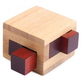 image of KIDS CLASSICAL WOODEN INTERLOCKING CUBE PUZZLE INTELLIGENCE DEVELOPMENT TOY BRAIN TEASER (WOOD) -