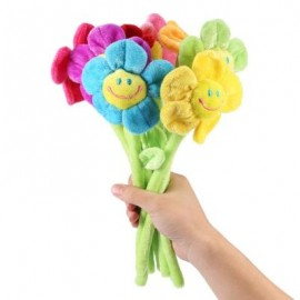 image of 8PCS COLORFUL BENDABLE STUFFED PLUSH FLOWER TOY NOVELTY BIRTHDAY CHRISTMAS GIFT (COLORMIX) -