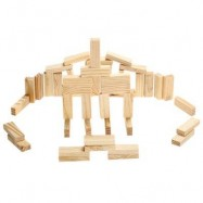 image of PILE STACKED HIGH BRICK TOY FOR KID EDUCATION - 48PCS / SET (LIGHT YELLOW) -