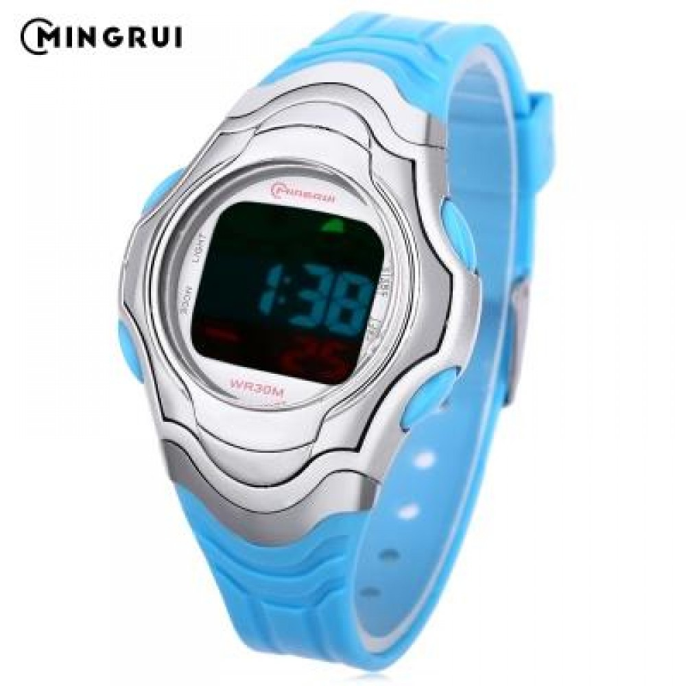 MINGRUI 8518 KIDS DIGITAL MOVT WATCH LED LIGHT DATE DAY CHRONOGRAPH DISPLAY 3ATM WRISTWATCH (LAKE BLUE) 0