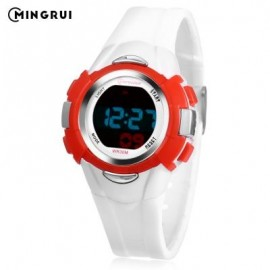 image of MINGRUI 8526013 KIDS DIGITAL MOVT WATCH LED LIGHT DATE DAY CHRONOGRAPH DISPLAY 3ATM WRISTWATCH (WHITE) 0