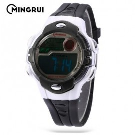 image of MINGRUI MR - 8532033 KIDS DIGITAL MOVT WATCH LED LIGHT DATE DAY CHRONOGRAPH 3ATM WRISTWATCH (BLACK) 0