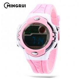 image of MINGRUI MR - 8532033 KIDS DIGITAL MOVT WATCH LED LIGHT DATE DAY CHRONOGRAPH 3ATM WRISTWATCH (PINK) 0
