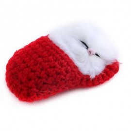 image of LOVELY SIMULATION SOUNDING SLEEPING CAT PLUSH TOY WITH SLIPPER NEST BIRTHDAY CHRISTMAS GIFT (RED) 10.00 x 6.50 x 5.00 cm