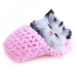 image of LOVELY SIMULATION SOUNDING SLEEPING CAT PLUSH TOY WITH SLIPPER NEST BIRTHDAY CHRISTMAS GIFT (PINK) 10.00 x 6.50 x 5.00 cm