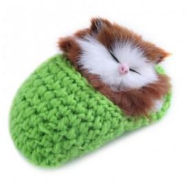 image of LOVELY SIMULATION SOUNDING SLEEPING CAT PLUSH TOY WITH SLIPPER NEST BIRTHDAY CHRISTMAS GIFT (APPLE GREEN) 10.00 x 6.50 x 5.00 cm