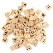 image of 100PCS WOODEN SCRABBLE TILES CAPITAL LETTERS BOARD ALPHABET TOY (APRICOT) One SIze