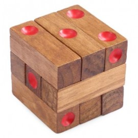 image of KIDS CLASSICAL WOODEN ASSEMBLING DICE INTELLIGENCE DEVELOPMENT PUZZLE TOY BRAIN TEASER (WOOD) -