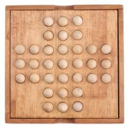 image of KIDS CLASSICAL WOODEN MARBLE SOLITAIRE INTELLIGENCE DEVELOPMENT TOY (WOOD) -