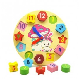 image of WOODEN BUILDING BLOCKS DIGITAL GEOMETRY CLOCK TOY CHILDREN EDUCATIONAL TOY KIDS GIFT (MULTICOLOR) 0