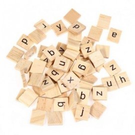 image of 100PCS WOODEN SCRABBLE TILES LOWERCASE LETTERS BOARD ALPHABET TOY (APRICOT) -