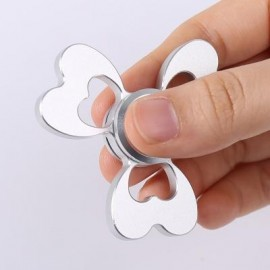 image of ALLOY FIDGET EDC TOY CLOVER SHAPED HAND SPINNER (SILVER) -