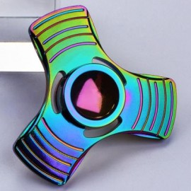image of FIDDLE TOY COLORFUL TRIANGLE FIDGET METAL HAND SPINNER -