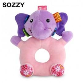 image of SOZZY CARTOON ANIMAL BABY SOFT PLUSH HANDBELL TOY (COLORMIX) ELEPHANT