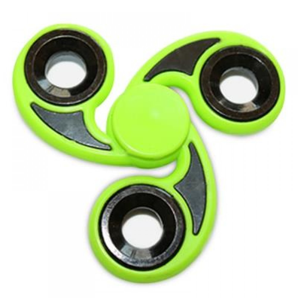 STRESS RELIEVER TRI-BAR FINGER GYRO HAND SPINNER (GREEN) -