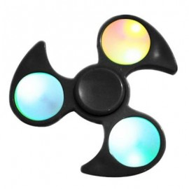image of FIDDLE TOY FIDGET SPINNER WITH COLORFUL FLASHING LED LIGHTS (BLACK) -