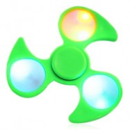 image of FIDDLE TOY FIDGET SPINNER WITH COLORFUL FLASHING LED LIGHTS (GREEN) -