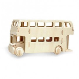 image of ROBOTIME BUS 3D WOODEN PUZZLE ENVIRONMENTAL ASSEMBLE TOY (WOOD) 23.00 x 18.50 x 1.00 cm